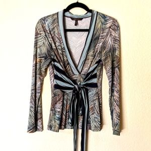 BCBG MaxAzria Long Sleeve Fitted Multicolor Blouse